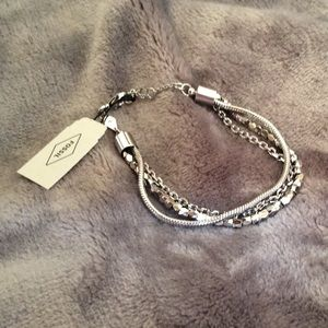 Fossil Jewelry - NWT Fossil Multi-Chain Silver-Tone Bracelet